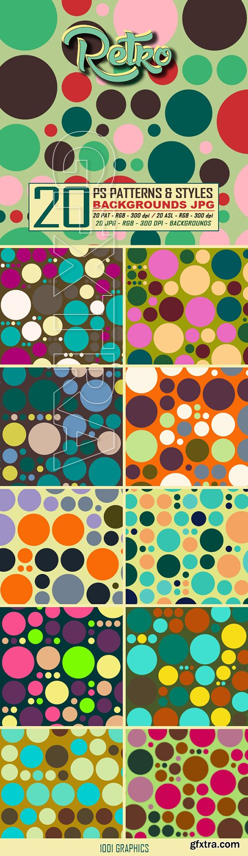 GraphicRiver - 20 Retro Dots Patterns & Styles 22943219