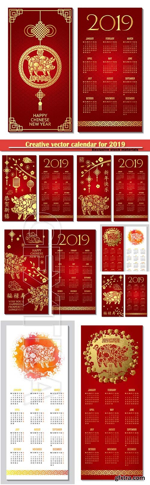 Creative vector calendar for 2019