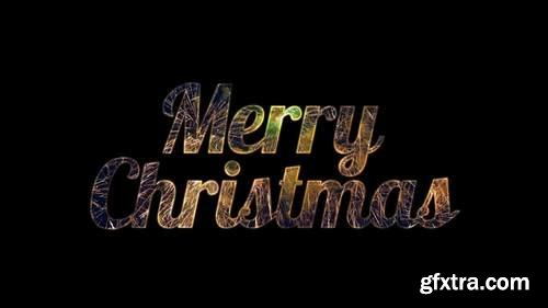 MA - Cursive Merry Christmas With Pyrotechnics Stock Motion Graphics 147319