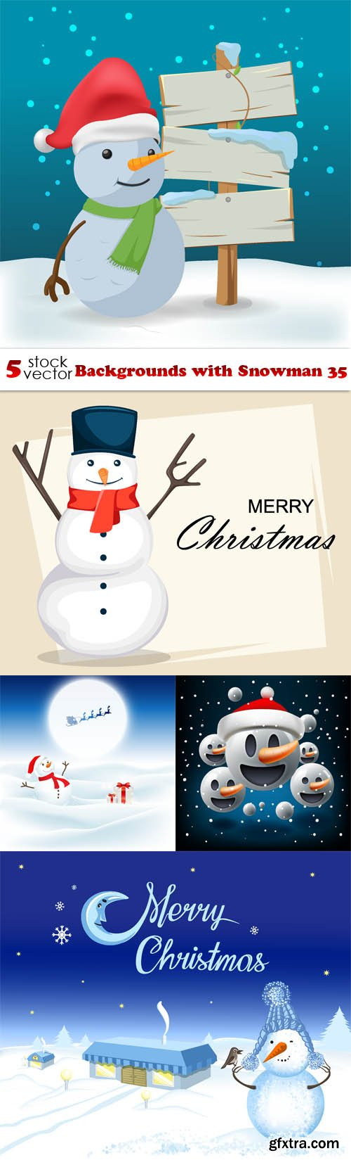 Vectors - Backgrounds with Snowman 35