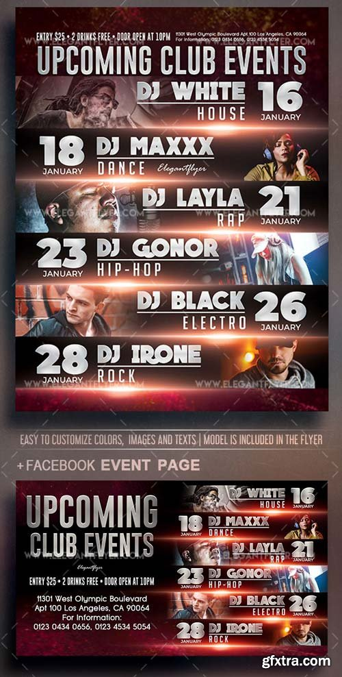 Upcoming Club Events V1 2018 Flyer PSD Template