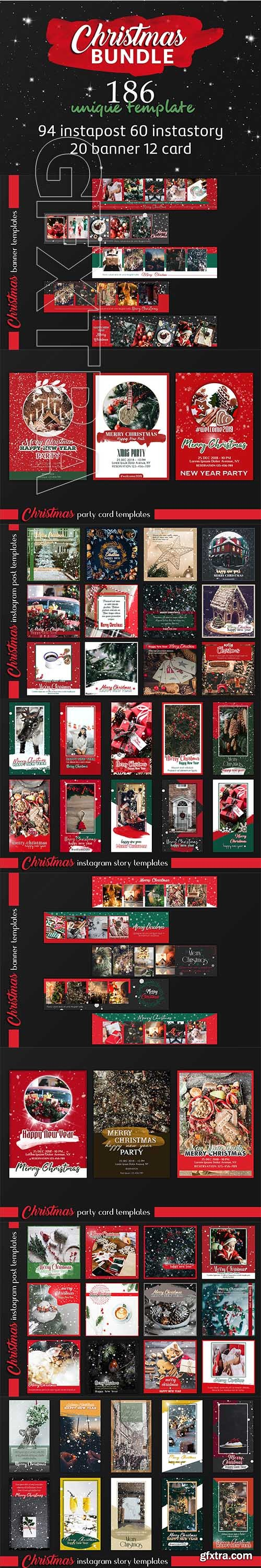 CreativeMarket - Christmas Instagram & Card Bundle 3213068