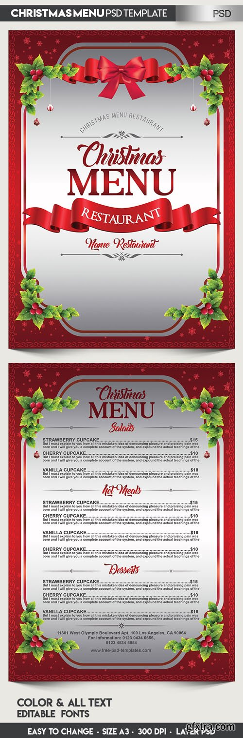 Christmas Menu PSD Mockup Template