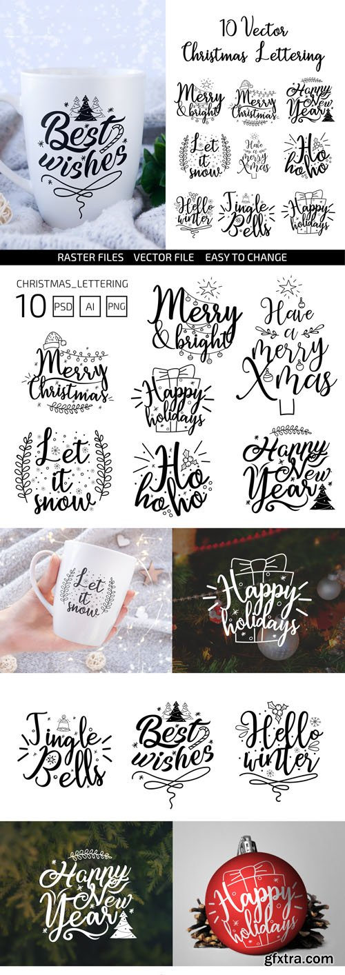 10 Vector Christmas Lettering [Ai/PSD/PNG]