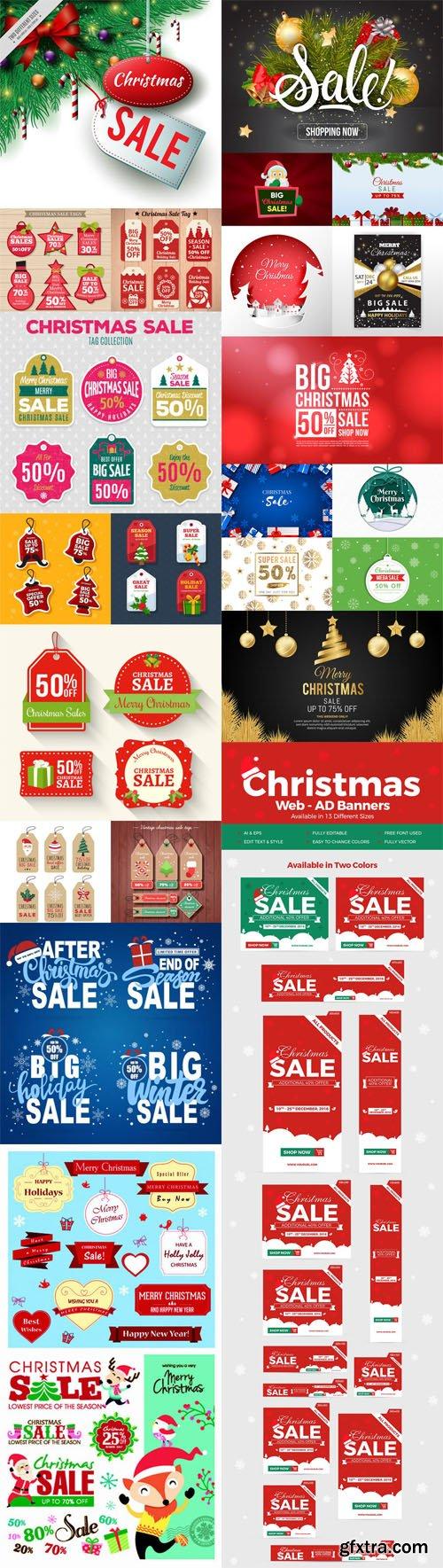 Holiday & Christmas Sales Vector Bundle 3