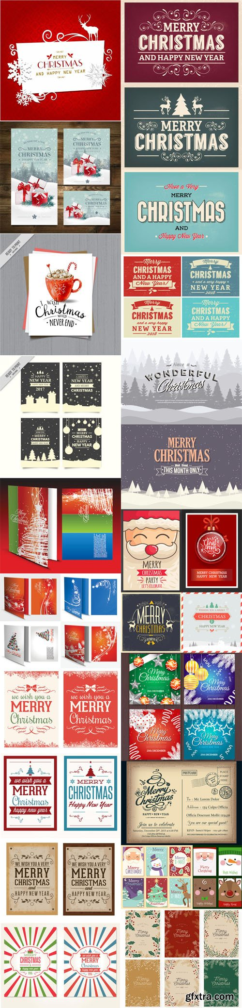 Christmas Cards Vector Collection 3