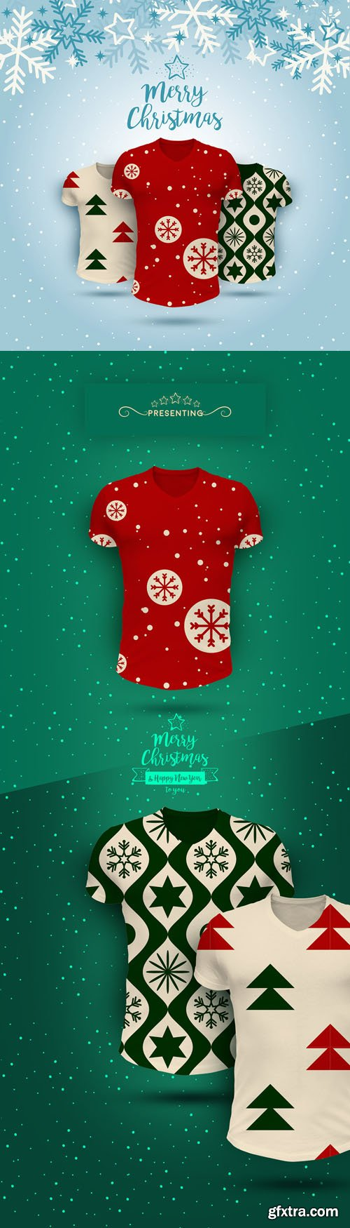 Christmas T-Shirts PSD Mockups Collection