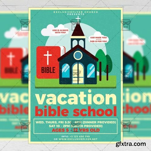 Vacation Bible School Flyer - Church A5 Template