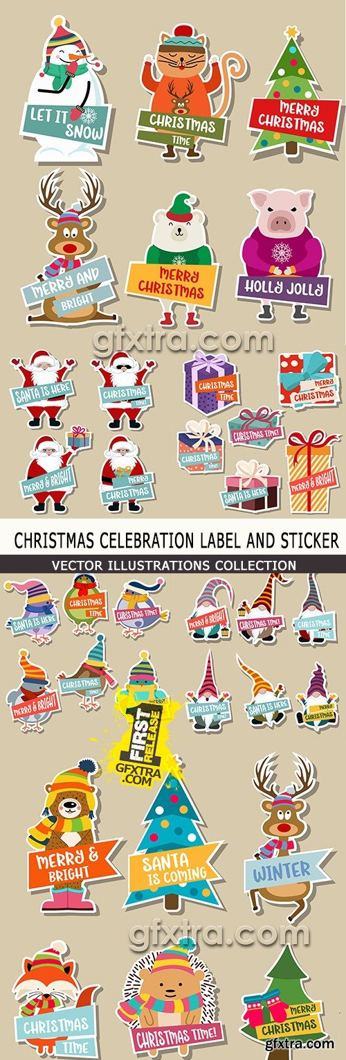 Christmas celebration set label and sticker illustration