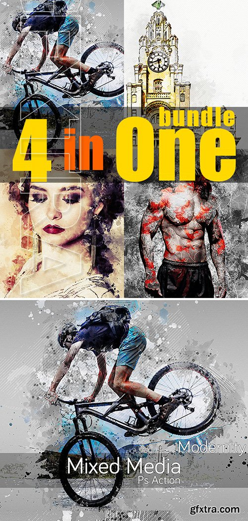 GraphicRiver - 4 in One Artistic Photoshop Actions Bundle 22931032