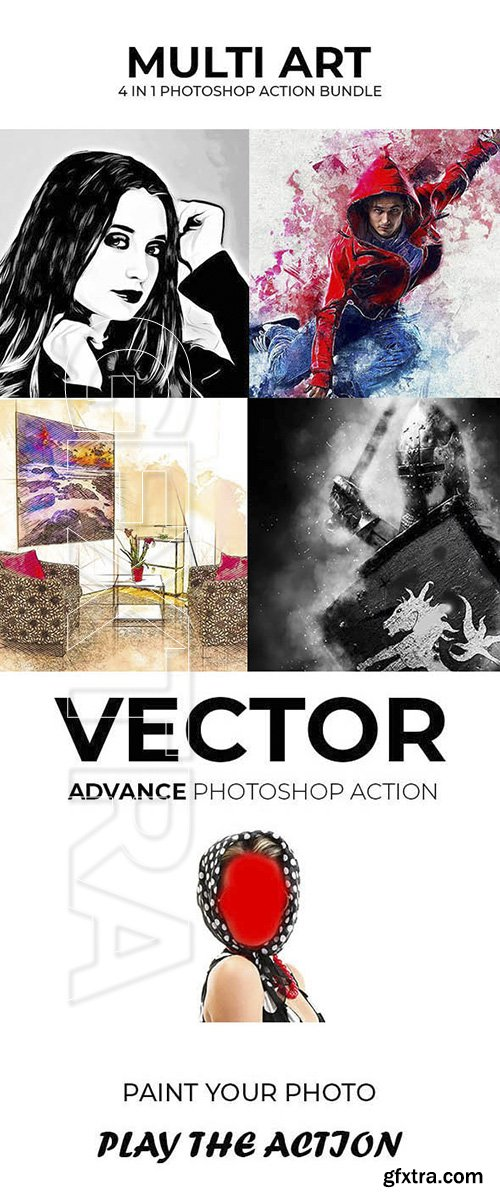 GraphicRiver - Multi Art 4 in 1 Photoshop Action Bundle 22921554