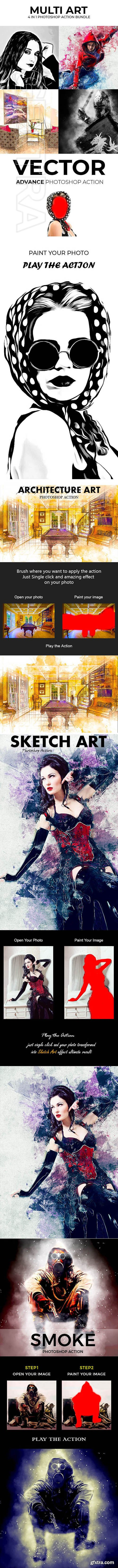 GraphicRiver - Multi Art 4 in 1 Photoshop Action Bundle 22921554