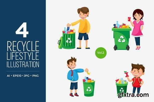 Recycle Lifestyle People Vector Character Set 1