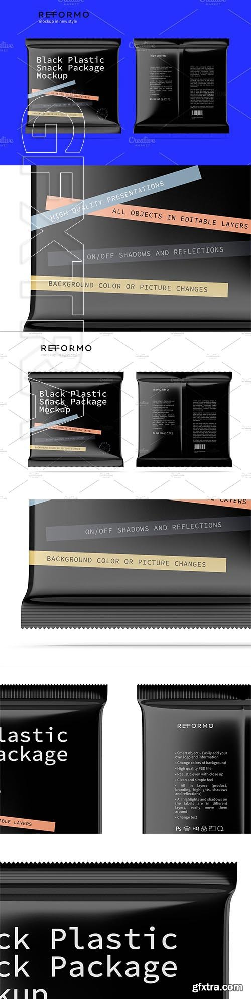 CreativeMarket - Black Plastic Snack Package Mockup 3245594
