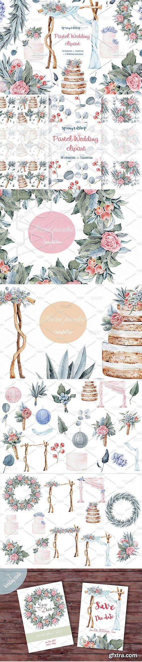 CreativeMarket - Pastel wedding watercolor clipart 1522384