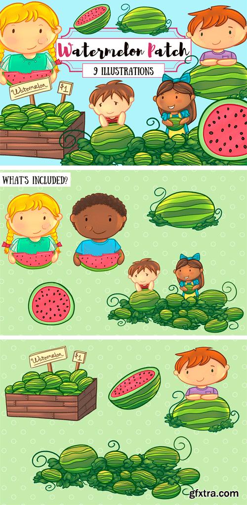Designbundles - Watermelon Patch Clip Art Collection 88944