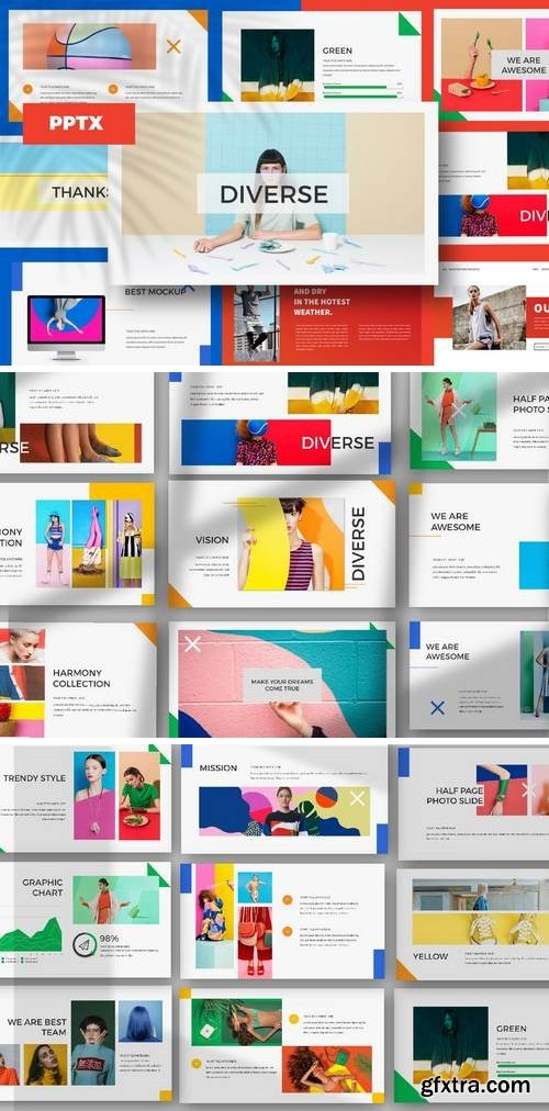 DIVERSE - Powerpoint, Keynote, Google Sliders Templates
