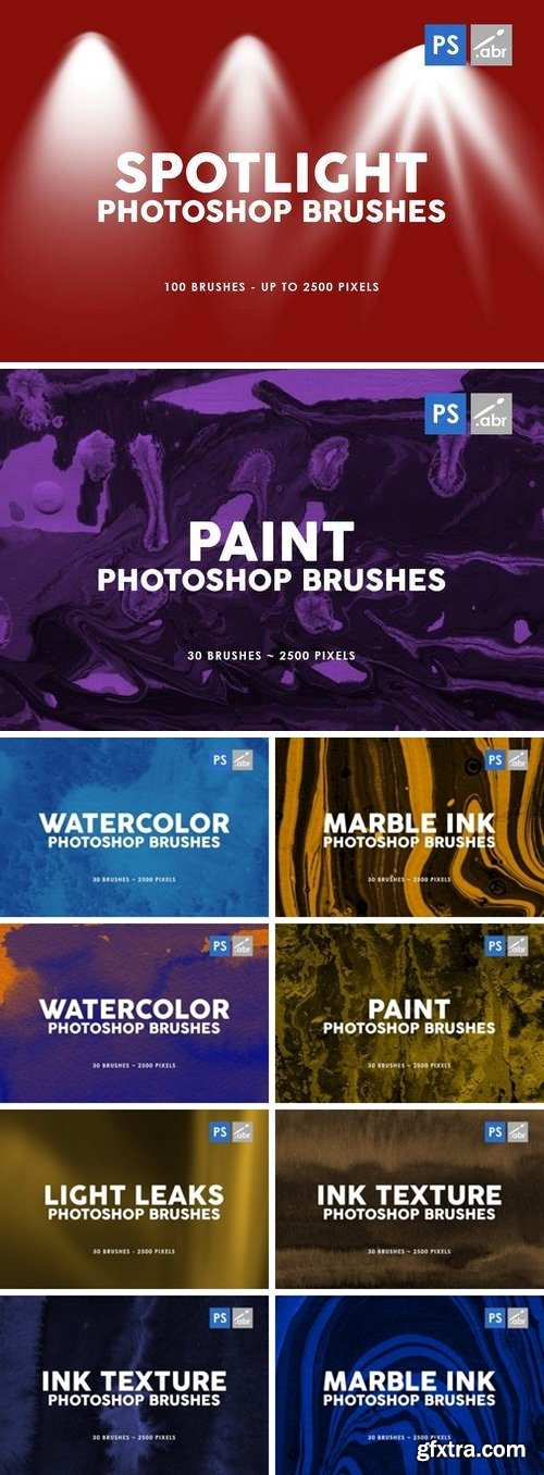Watercolor Texture Photoshop Brushes Bundle