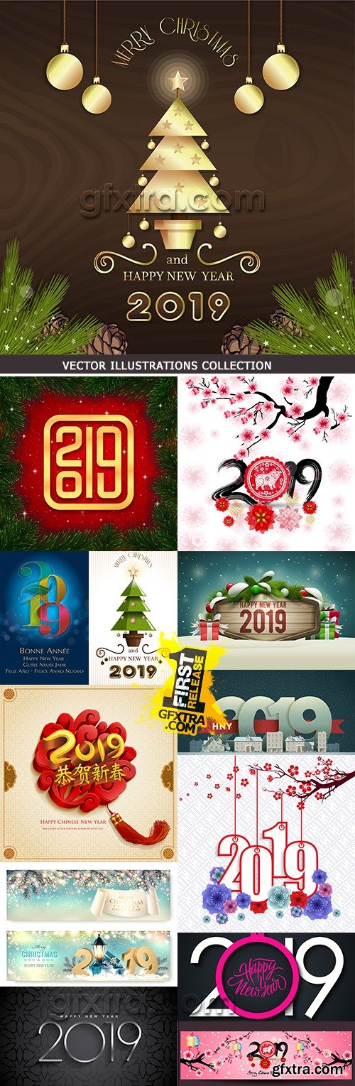 2019 New Year festive inscriptions decorative design 5