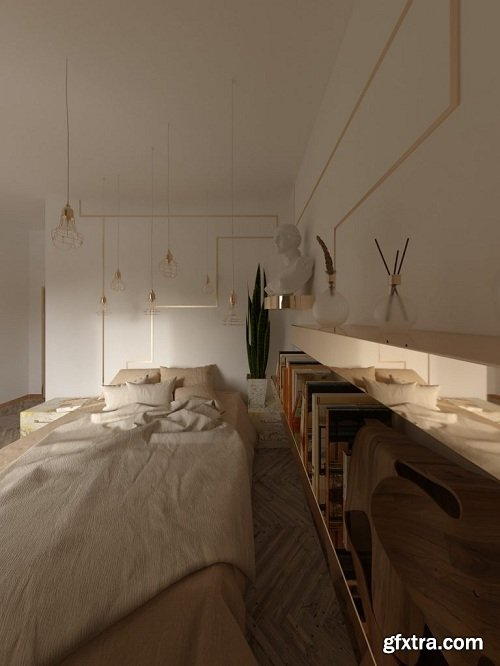 Modern Bedroom Interior Scene 26