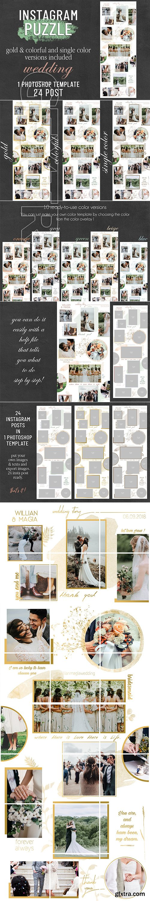 CreativeMarket - Instagram Puzzle Template - Wedding 2916640