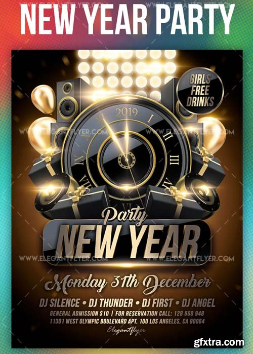 New Year Party V56 2018 Flyer PSD Template + Instagram template