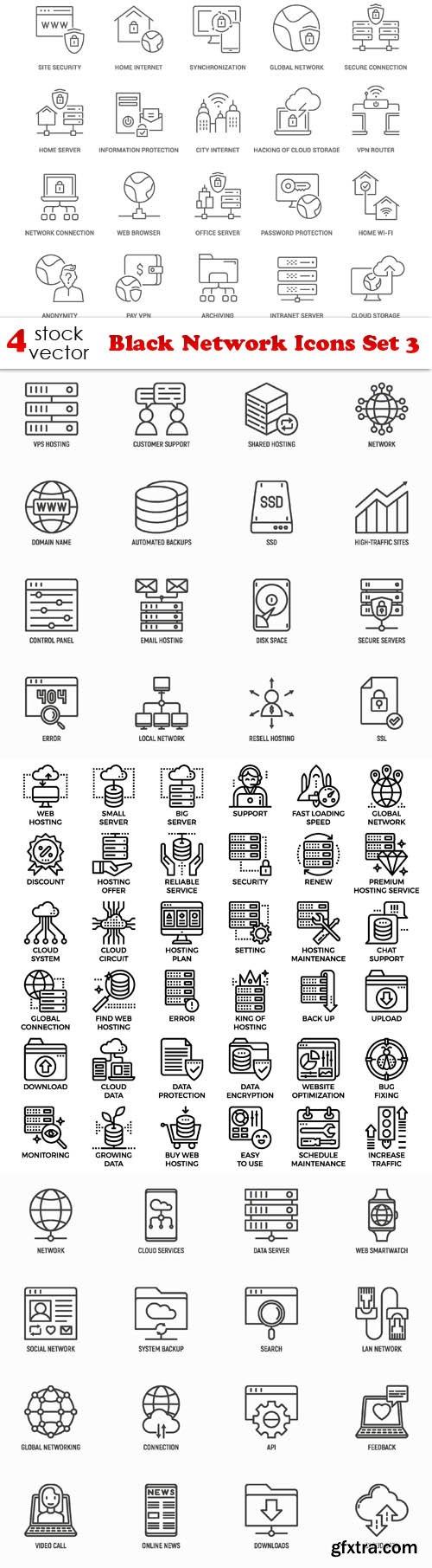 Vectors - Black Network Icons Set 3