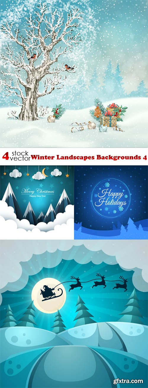 Vectors - Winter Landscapes Backgrounds 4
