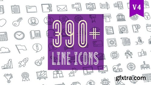 Videohive Line Icons Pack 390 Animated Icons 20236035