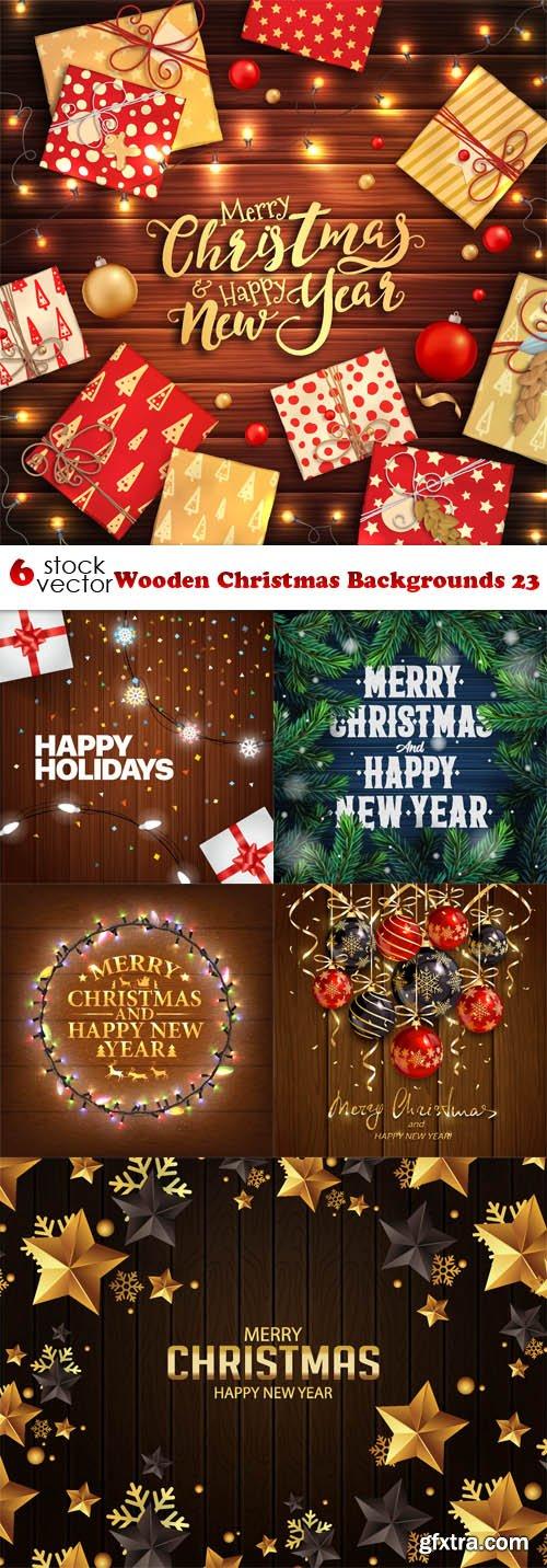 Vectors - Wooden Christmas Backgrounds 23