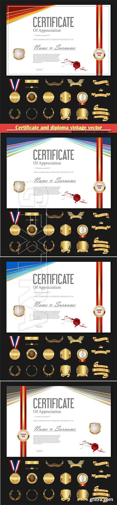 Certificate and diploma vintage vector temlate with luxury labels