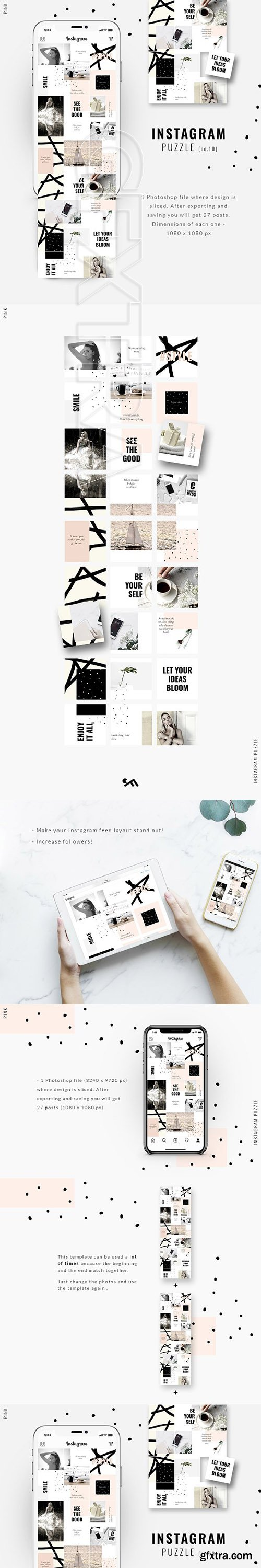 CreativeMarket - Instagram PUZZLE template - Pink 3247012