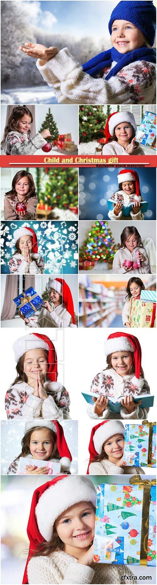 Child and Christmas gift
