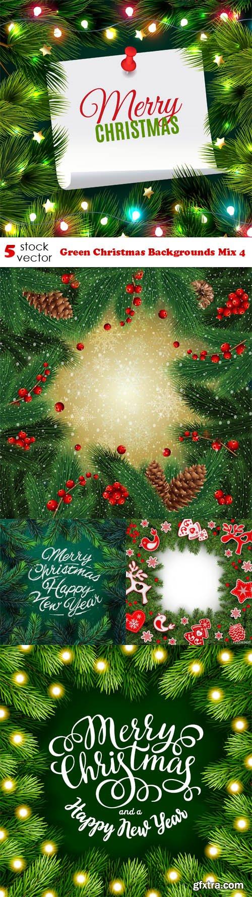 Vectors - Green Christmas Backgrounds Mix 4