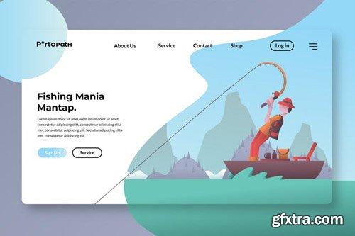 Fishing Maniac Illustration Banner & Landing Page