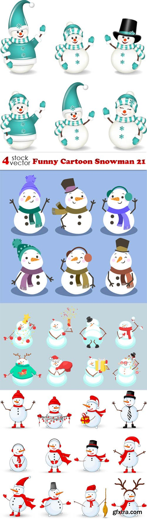 Vectors - Funny Cartoon Snowman 21