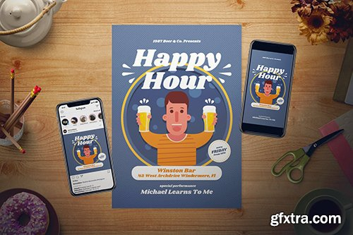 Happy Hour Flyer Set