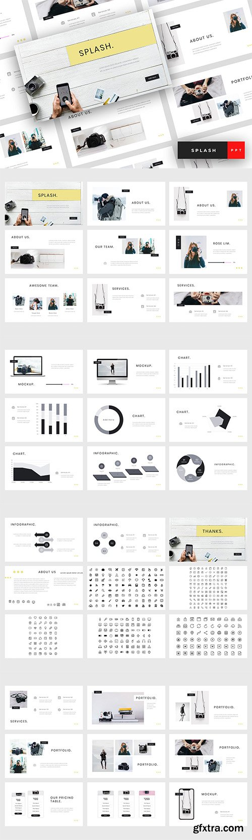 Splash - Photography Powerpoint, Keynote and Google Sliders Template