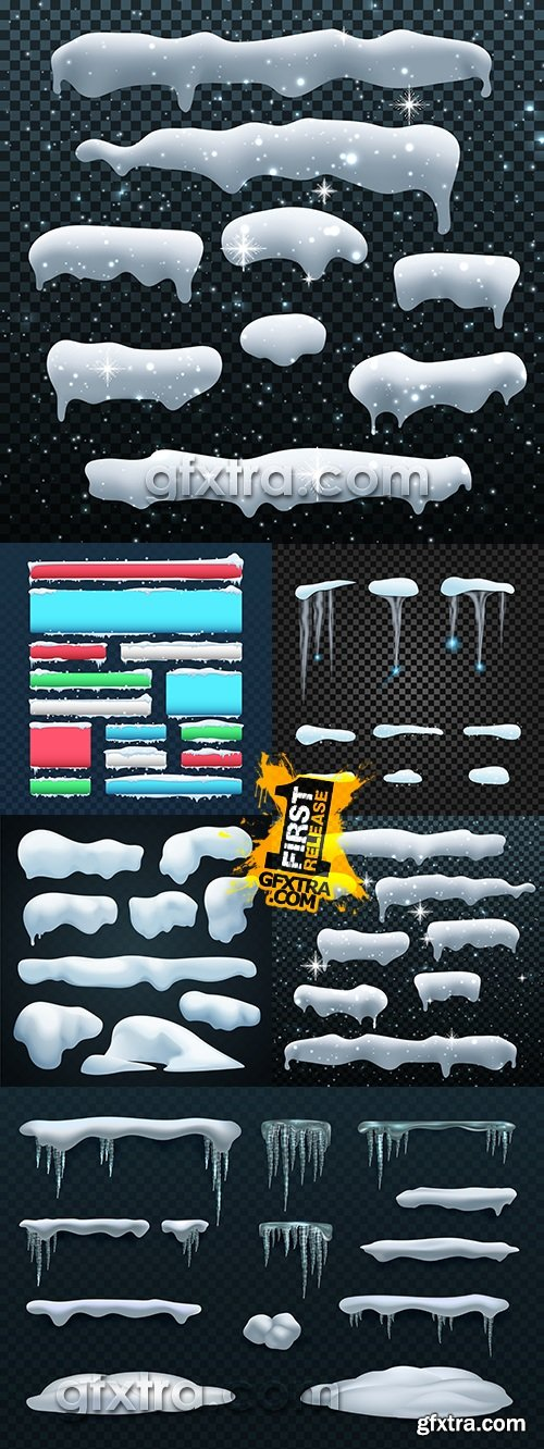 Snowball snowdrift icicle collection of winter set