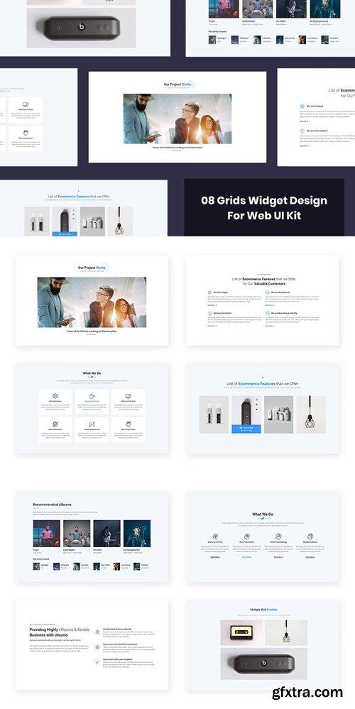 8 Grids Widget Design for Web-UI Kit
