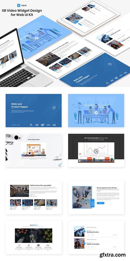 8 Videos Widget design for Web-UI Kit