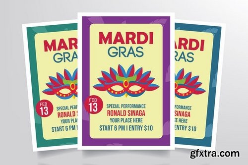 Mardi Gras Flyer Template Vol 1