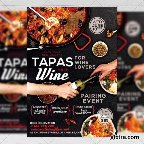 Tapas and Wine Flyer – Food A5 Template