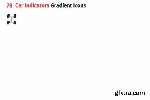 Car Indicators Vector Gradient Icons