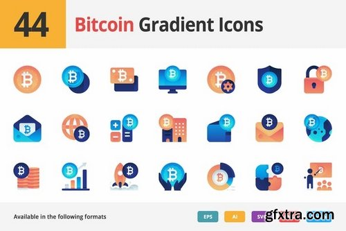 Bitcoin Gradient Vector Icons