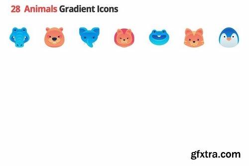 Animals Gradient Vector Icons