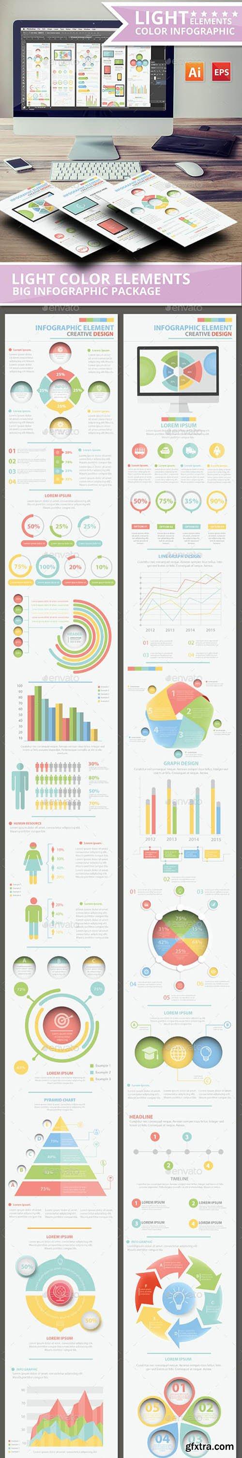 Light Color Info Graphic Elements Design 13111754
