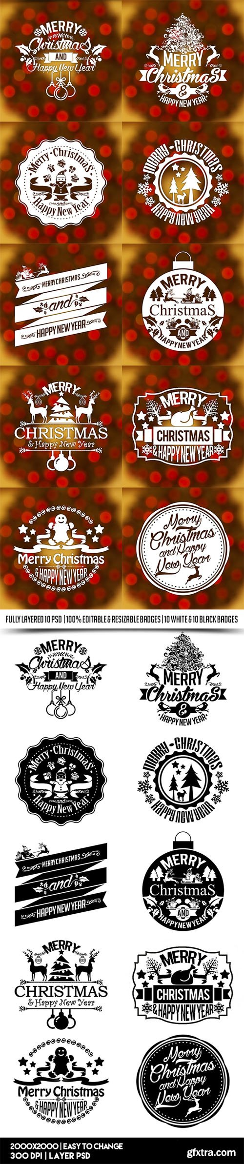 10 Christmas & New Year Vintage Labels/Badges/Stickers in PSD