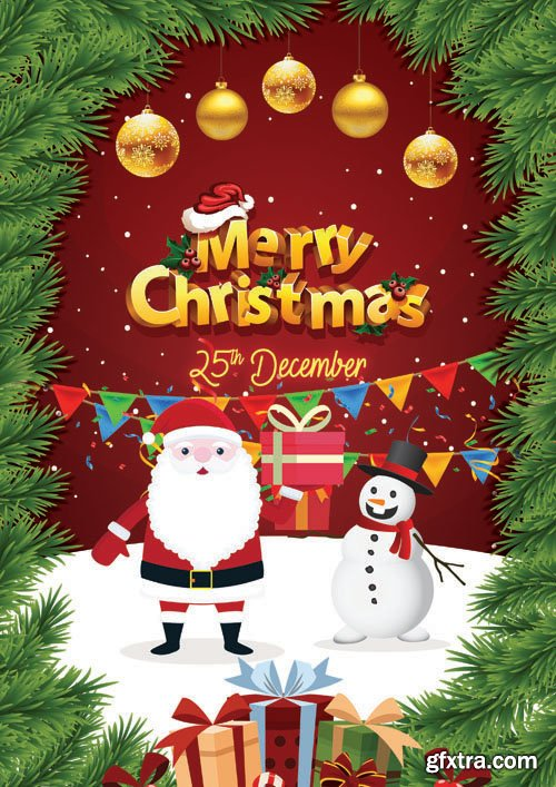 Merry Christmas Greeting Flyer PSD Template