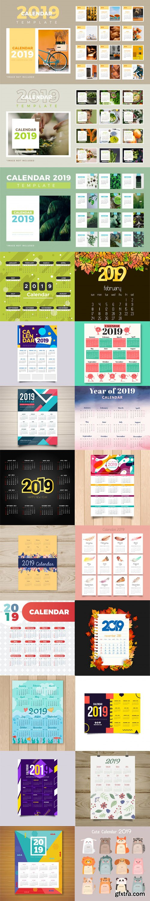 2019 Calendar Vector Templates Collection 2 [25 Calendars]